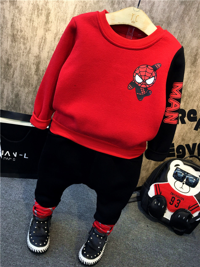 Hot selling Spiderman Sports suit Baby Boy Sets Jogging hooded sets Boys Tracksuits children's autumn winter clothes N44