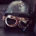 2016 Женщин и Мужчин Урожай Открытым Лицом 3/4 Мотоциклетные Шлемы с Goggle Маска Ретро Кожа Скутер Шлем каско moto XXL