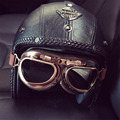 2016 Women and Men Vintage Open Face 3/4 Motorcycle Helmets With Goggle Face Mask Retro Leather Scooter Helmet casco moto XXL