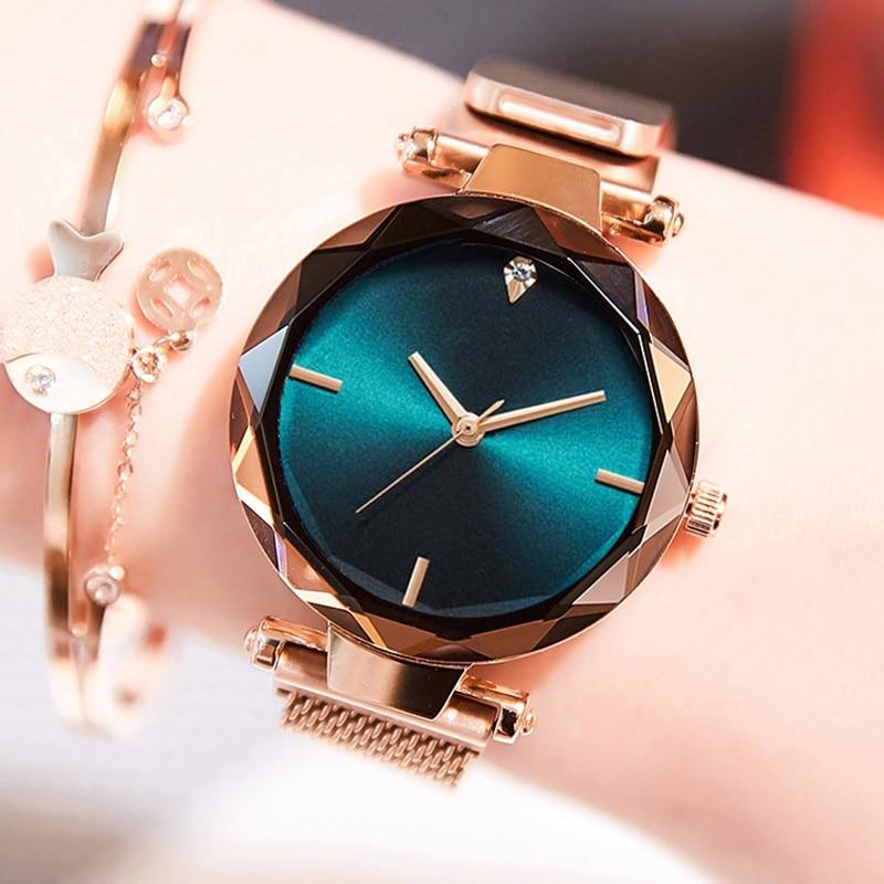 Luxury Band Women Quartz Watches Aurora Magnetic Fashion Diamond Wrist Watches Minimalist Gem Cut Top Sell Relogio Feminino Gift