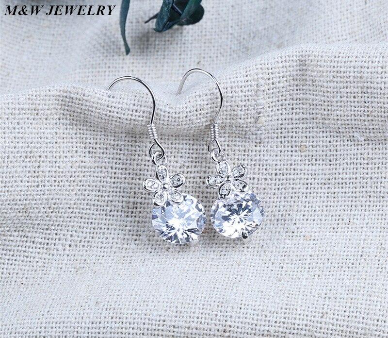 M&W JEWELRY Angel for Women Engagement Jewelry Stud Earrings Ladies 925 Sterling Silver Earrings Wedding Gift For Female Hot Sal