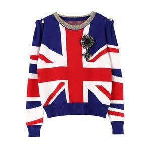 Image 1 - 2020 חורף חג מולד סוודרים סוודרי נשים ואגלי צבע בלוק פניני סרוג סוודר מסלול מעצב גבירותיי בגדי מגשר