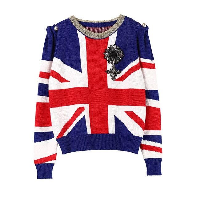 2020 חורף חג מולד סוודרים סוודרי נשים ואגלי צבע בלוק פניני סרוג סוודר מסלול מעצב גבירותיי בגדי מגשר