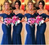 Sexy mermaid blue tulle bridesmaid dresses sweetheart cap sleeves custom made charming handmade mermaid bridesmaid party gown