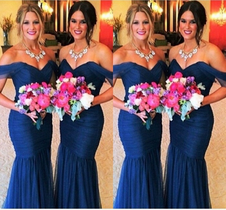 Sexy mermaid blue tulle   bridesmaid     dresses   sweetheart cap sleeves custom made charming handmade mermaid   bridesmaid   party gown