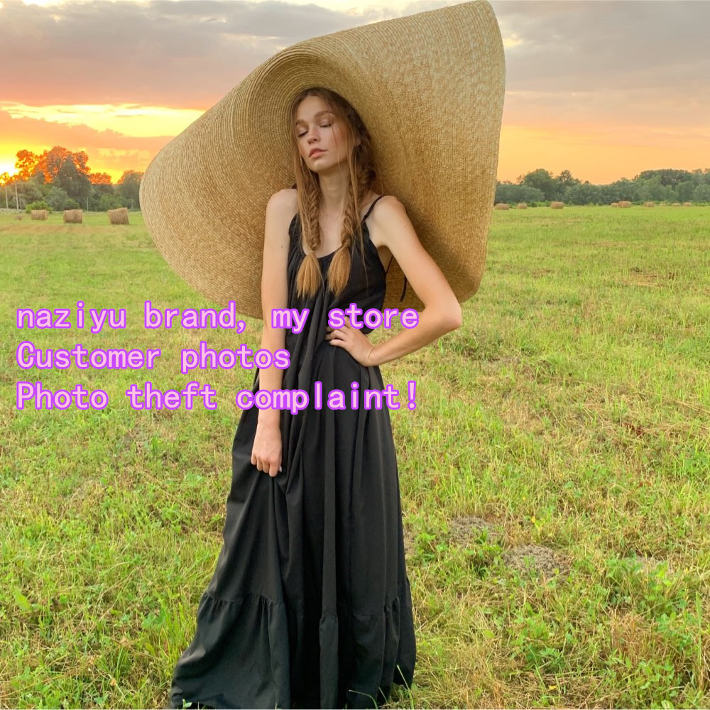 Image 3 - pre sale, about 1.1 m ,more than 1m handmade straw very big 45cm brim wedding sun cap women  leisure hat take photo-in Women's Sun Hats from Apparel Accessories