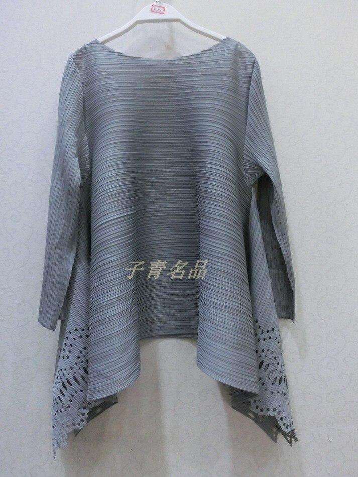 shirts 2018 Taille Cou Changpleat see T Chart Creux Miyak T De Femme shirt T90 Femmes Mode Grande Marée Lâche out Slash Chart Printemps Solide See Plissée Y66SPqd