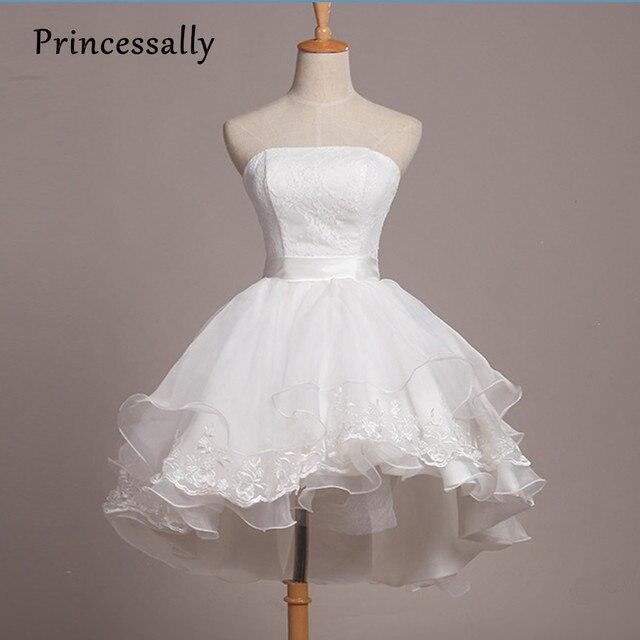 09573dfcd Luxo Curto Rendas Vestido Bonito Vestido de Casamento Alta Baixa vestido de  Noiva Puffy Frente curta