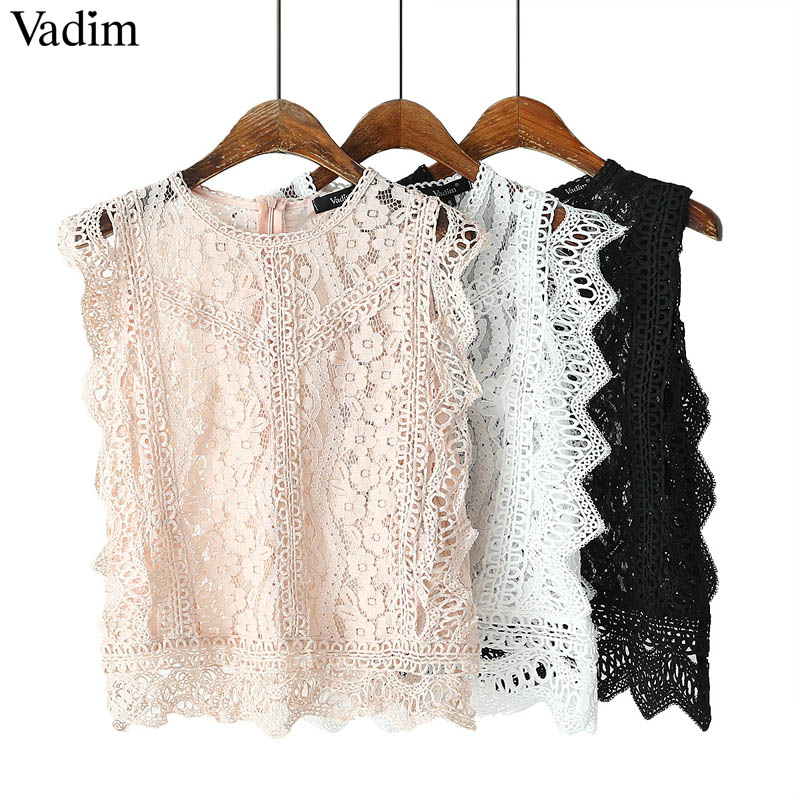 Vadim women sweet lace crop top sleeveless O neck transparent blouse female hollow out short stylish shirts blusas WA242(China)