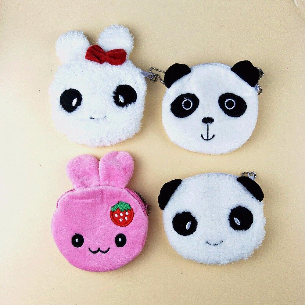 M164 Cute Cartoon Creative Rabbit Panda Coin Purse Wallet Card Bag Girl Women Student Gift Wholesale m060 cute cartoon women purses pets akita dog siberian husky personality plush coin purse wallet women student gift wholesale
