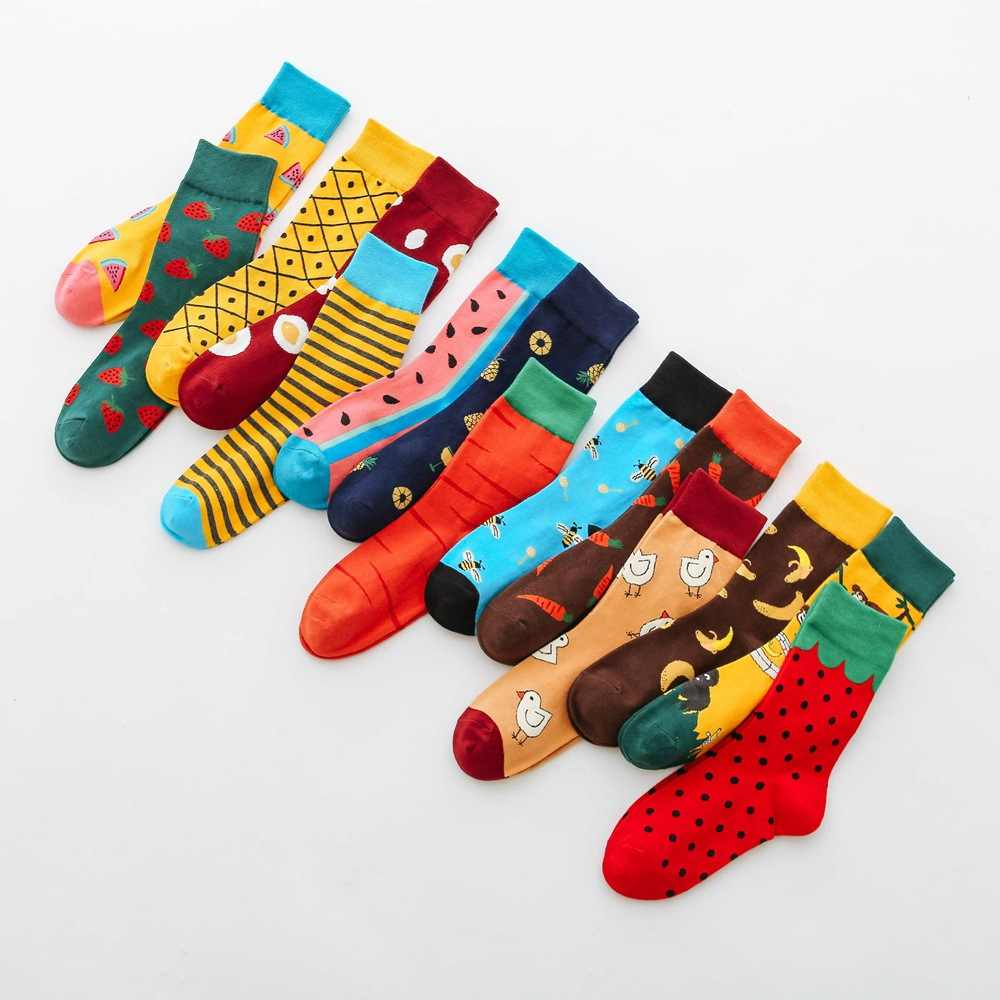 Fashion woman cotton socks fun watermelon strawberry pineapple fruit socks monkey bee chick animal socks pizza burger food socks