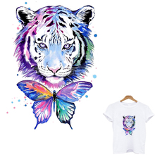 iron on patches Tiger butterfly stickers for clothes fusible patch garment application of one another stripes for clothing toppe