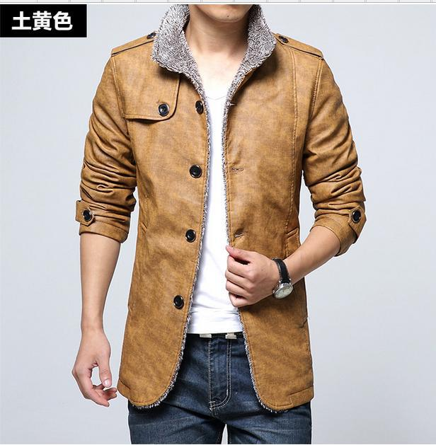 Coat Free shipping Men's casual leather leather jacket lapel solid new fashion trend tops