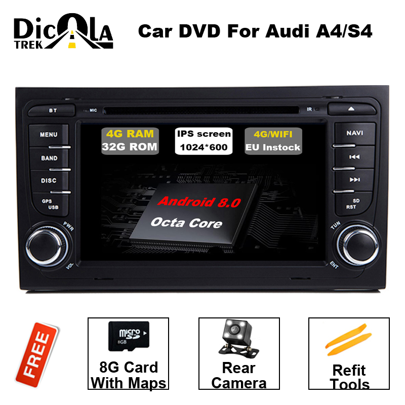 4+32G 2 Din 7'' Android 8.0 Octa Core Radio Car DVD Player for Audi A4 B6 B7 S4 B7 B6 RS4 2002-2008 RS4 B7 SEAT Exeo 2008-2012 1pcs front dash car cup holder sliding for 2002 2008 audi a4 b6 b7 right driving