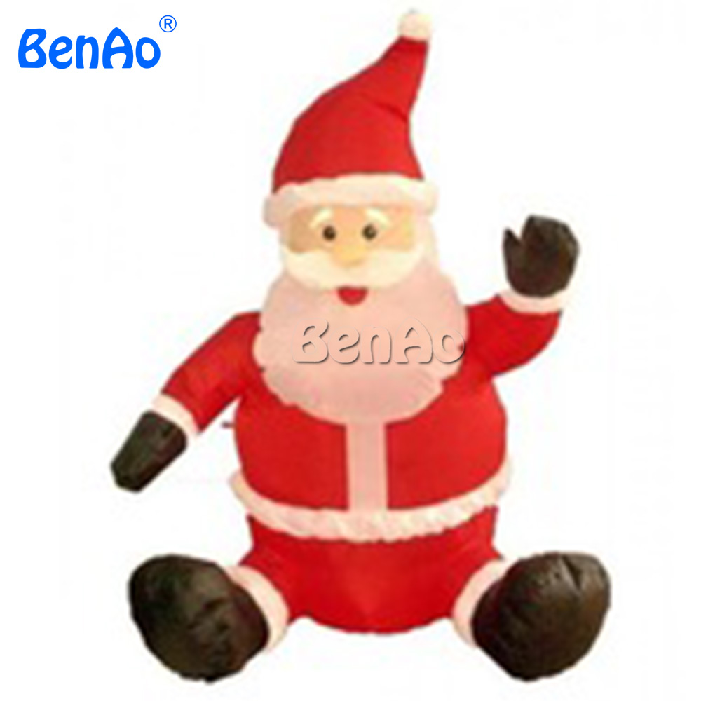 цены  X130 Free shipping + LED Light Santa Claus Inflatable Christmas Decoration/Lows outdoor inflatable christmas sitting santa claus