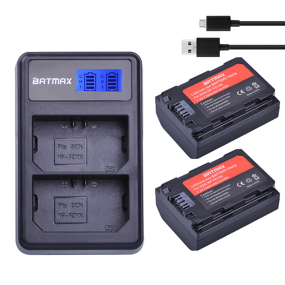 2280mAh 2Pc NP FZ100 NP-FZ100 NPFZ100 Battery + LCD Dual USB Charger for Sony FZ100 Battery A7R III A7 III BC-QZ1 A9/A9R Alpha9