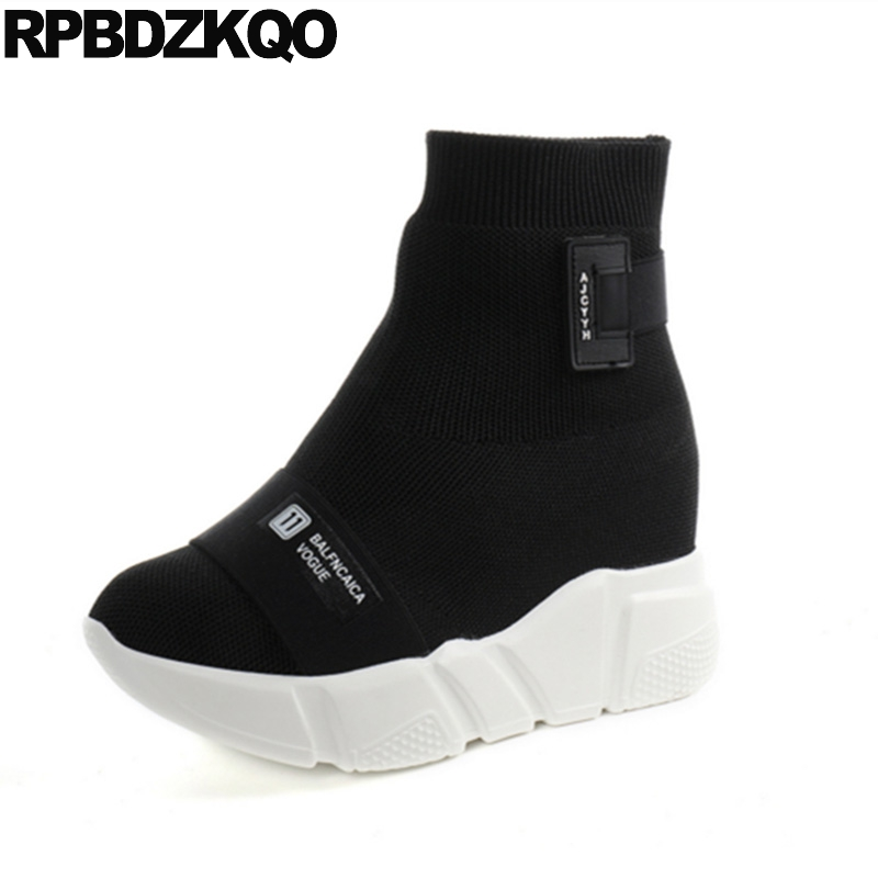 Height Increasing Fur Knit Platform Slip On Ankle Women Boots 2016 Round Toe Shoes Muffin Black Sneakers Casual Sock Elastic muffin wedge high heel stretch women extreme fetish casual knee peep toe platform summer black slip on creepers boots shoes