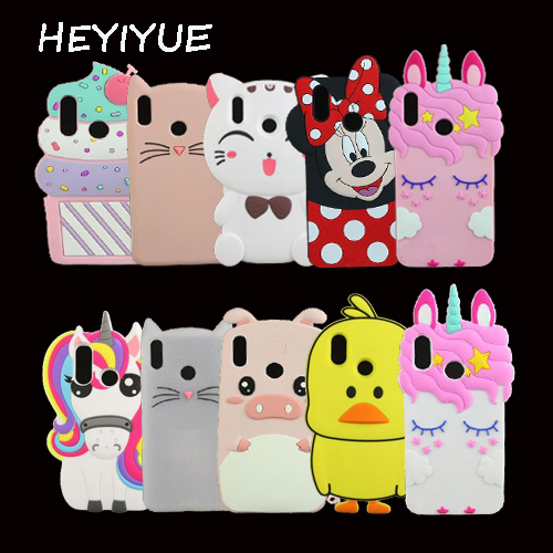 For Huawei Honor 8X 3D Silicon Cat Unicorn Minnie Pig Cartoon Soft Phone Back Cover Case For Huawei Y9 2019 / Enjoy 9 Plus 6.5