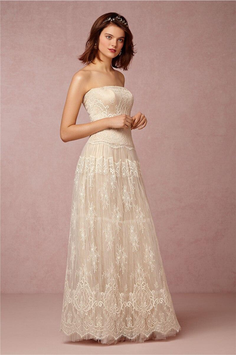 Plus Size Boho Vintage Lace Beach Wedding Dress 2017 Sexy Strapless ...