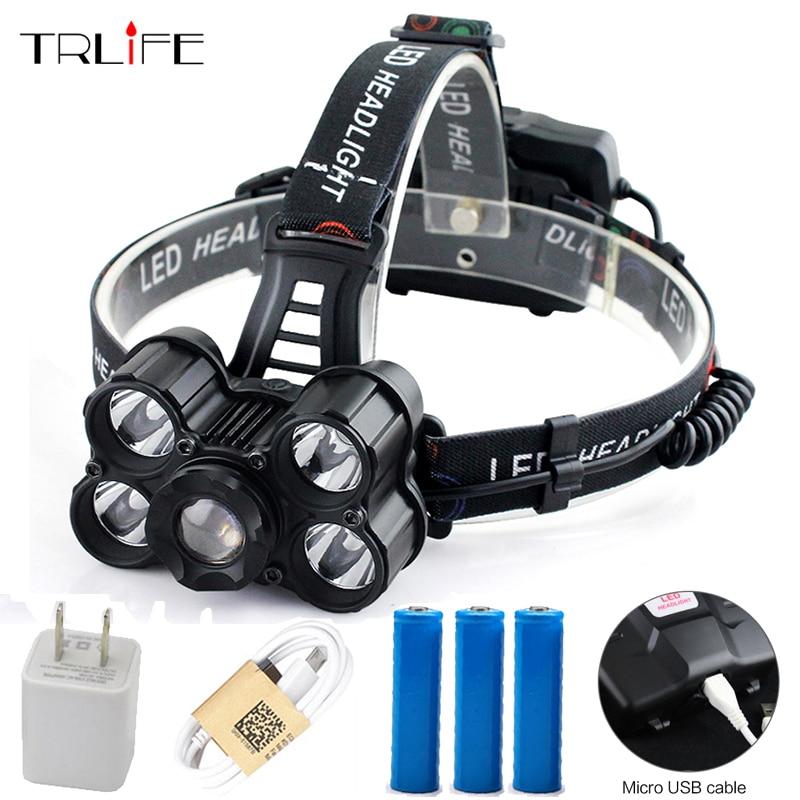 12000 Lumen 5 XML T6 LED Headlight USB Rechargeable Headlamp Telescopic Zoom Flashlight Fishing Light Outdoor Light fenix hp25r 1000 lumen headlamp rechargeable led flashlight