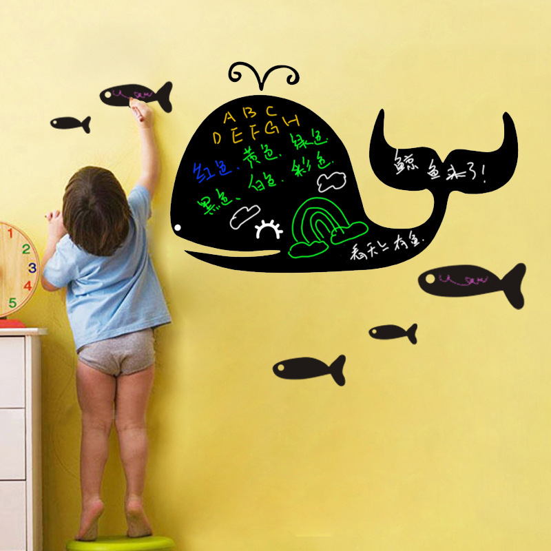 Creative Green Removable Wall Stickers Nursery Children's Room Backdrop Stickers Affixed Blackboard Whale