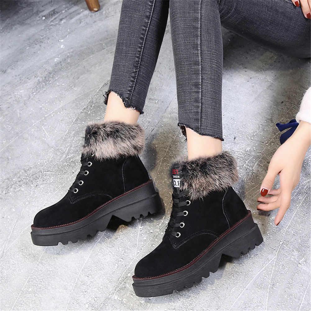 KARINLUNA 2019 Yeni Kar Botları Katı Dantel Up Yuvarlak Ayak kaymaz Ayakkabı Kadın Rahat kadın Kış sıcak kürk yarım çizmeler Siyah