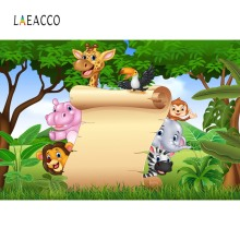 Laeacco Safari Jungle Birthday Party Themed Banner Baby Child Photo Backgrounds Photocall Photography Backdrops For Studio