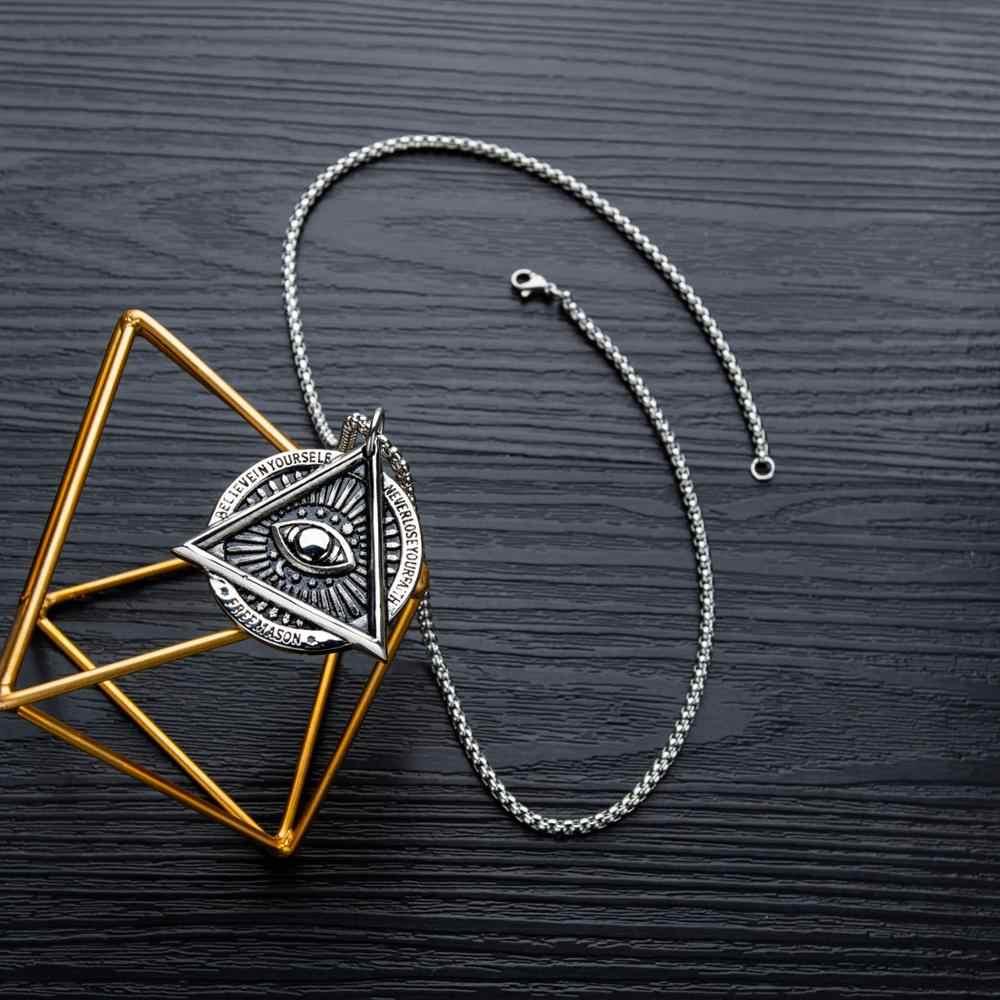 Collier œil de Providence franc-maçon mauvais œil en acier inoxydable Talisman signe médaillon cadeaux Illuminati bijoux