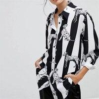 New 2018 Spring Chiffon Women Tops And Blouses Long Sleeve Dog Printed Shirts Plus Size Feminine