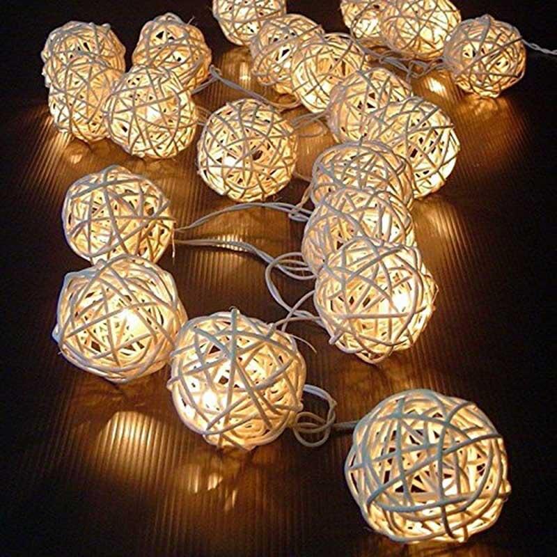 20 Luminaria Led boules de rotin fée chaîne lumières décoratives à piles noël extérieur Patio guirlande décoration de mariage