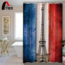 hot deal buy france paris style pattern polyester waterproof shower curtain creative bathroom curtain 12 hooks home textile bath decor