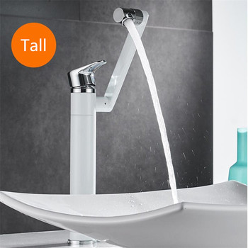 Bathroom Basin Faucet Hot & Cold Sink Mixer Tap Brass Rotating Lavatory White Baking Water Crane Tap Single Handle Deck Mounted 16