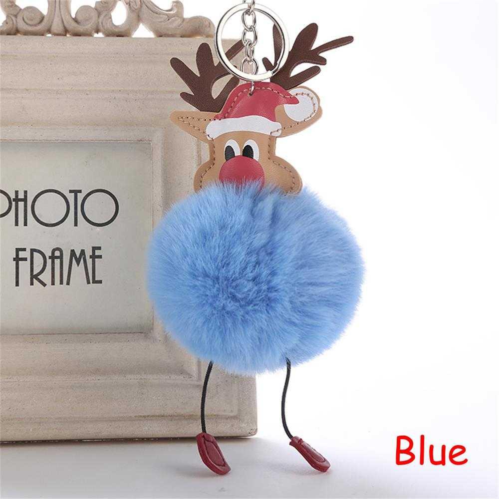 2018 Nova Natal Cervo Bonito Pompom Fofo Pele Chaveiro Boneca de Pelúcia Bolsa Saco Chaveiro Mulheres Girl Fashion Jóias DIY Decoração