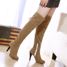 PLUS EUR Dimension 41 42 43 44 45 46 47 Concise fashion prime quality PU Leather-based Over-The-Knee Boots skinny excessive heels Free Transport