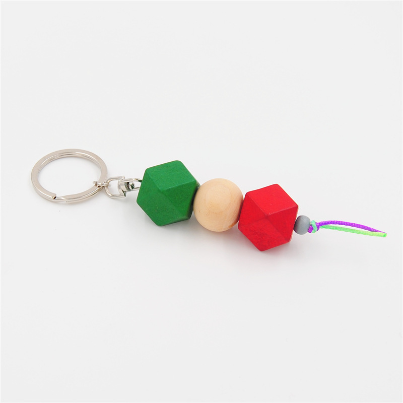 2019 New 1pc Wood Keychains Keyring Women Girls Decorative Wooden Bag Charm Geometry Colorful Beads Jewelry Aceessories hot in Key Chains from Jewelry Accessories