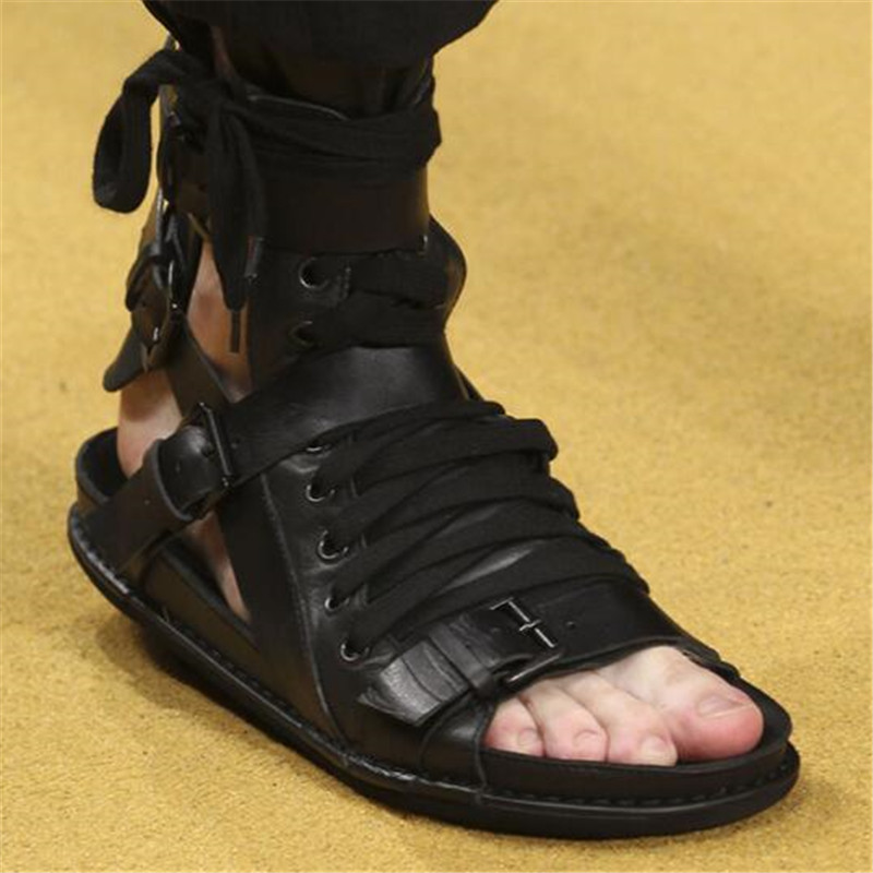 3f28b455b4e Real Leather Shoes 2017 New Gladiator Sandals Men Shoes Lace Up Ankle Boots  Platform Summer Shoes Black Men Flats Sandals Size42