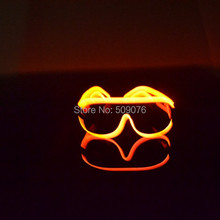 Free Shipping 50pcs/lot sound Voice Activate glasses El Wire Glow Sun Glasses Led heart sunglasses Light Up Multicolor Frame