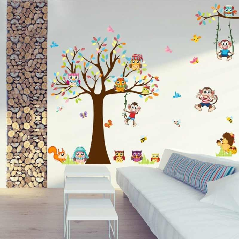 Big Tree Wall Sticker For Kids Bedroom Cartoon Plane Diy Window Decor Poster Home Decorative Plant Mural Art Wallpapaer