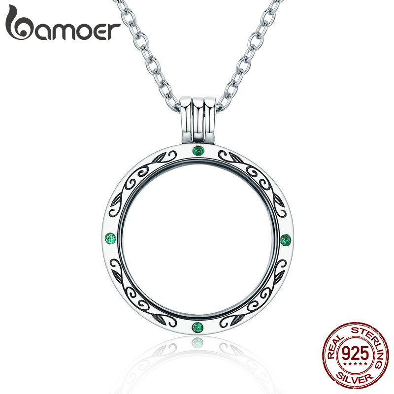 BAMOER 100% Authentic 925 Sterling Silver Mystery Power Box Petite Floating Locket Necklaces for Women Silver Jewelry SCF002 authentic 100% 925 sterling silver round power box petite memories long chain necklace floating locket necklace diy jewelry