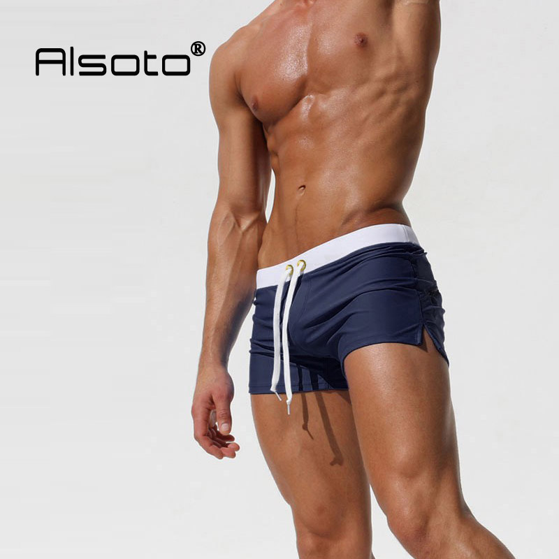 Hot Swimwear Men Breathable Men's Swimsuits Swim Trunks Boxer Briefs Sunga Swim Suits Maillot De Bain Beach Shorts on AliExpress
