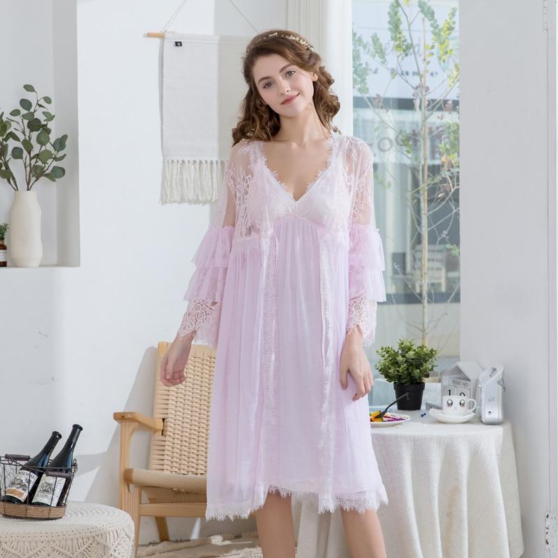 2019 femmes dentelle gaze rayonne femme dentelle Robe peignoir femmes Robes de nuit dames confort Robe pour femmes deux pièces chemise de nuit