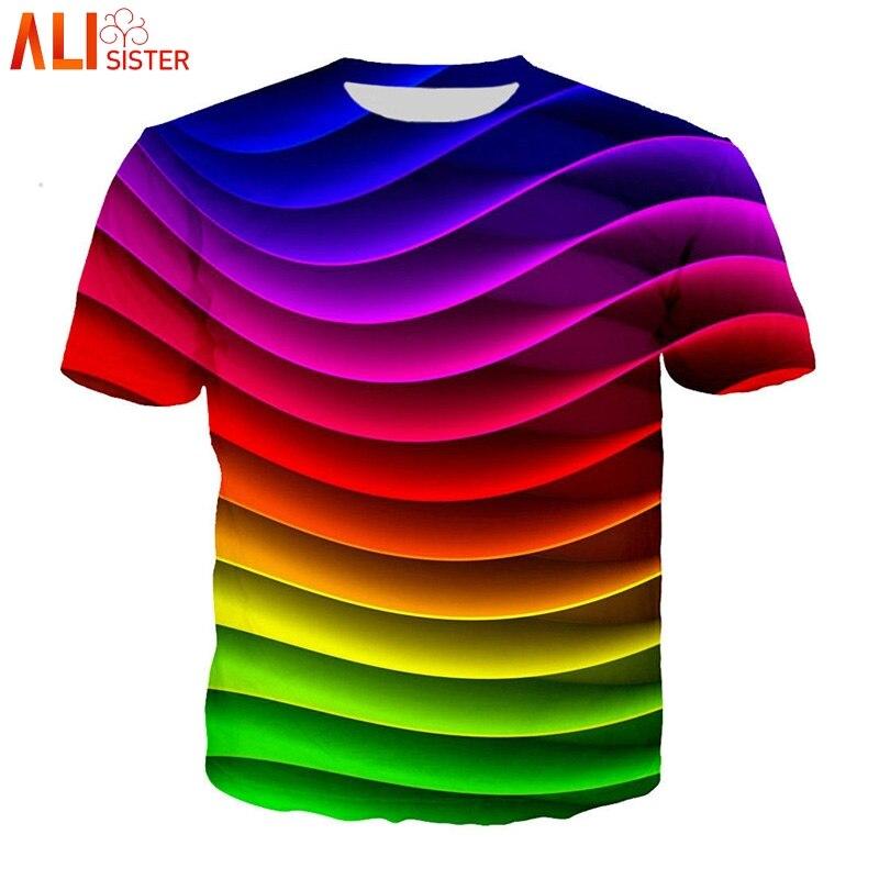Alisister hombres mujeres talla grande T Shit 3d Vertigo Hypnotic Print Camiseta cuello redondo divertido Unisxe Hip Hop camisetas Camisa Masculina