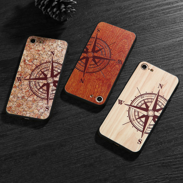 Natural Wood Compass Case for iPhone 3