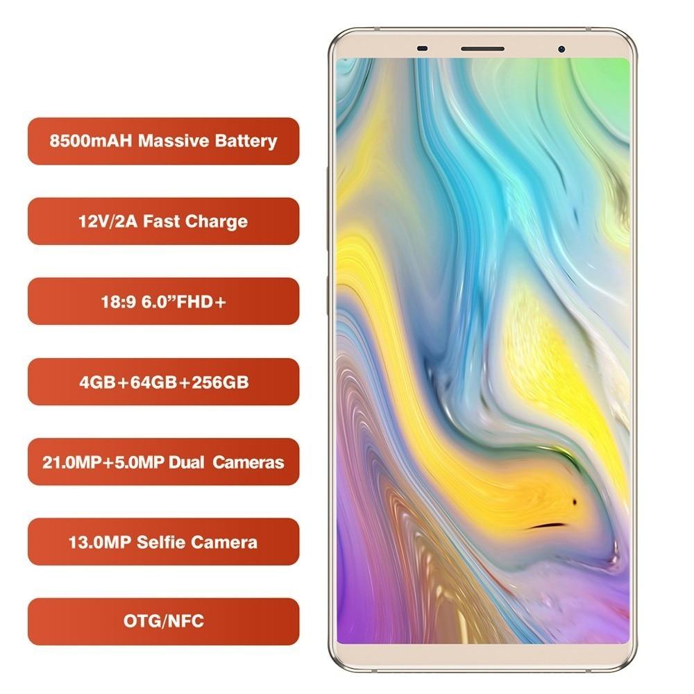 2018 BLUBOO S3 Smartphone 8500mAh 6.0 18:9 MTK6750T Octa Core Android 8.1 4GB RAM 64GB ROM 21MP+5MP Rear Camera Mobile Phone