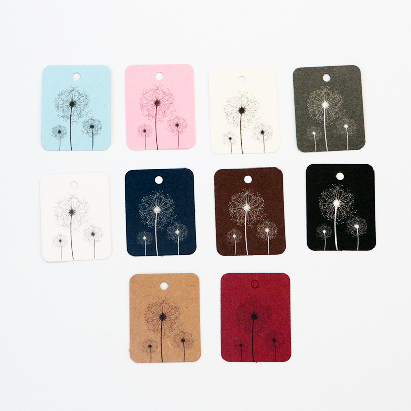 New Fashion 100pcs/lot Dandelion Design Colorful Paper Hang Tags 2.6x3.3CM Jewelry Clothing Price Tag Square Label Jewelry Cards