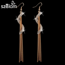 2015 Fashion Tassel Earrings High quality CZ diamond Earrings Drop Earring Gold Plated Elegant women Jewelry SER140037 women big drop earrings rhodium plated with cz stone romantic style fashion jewelry high quality free shipment