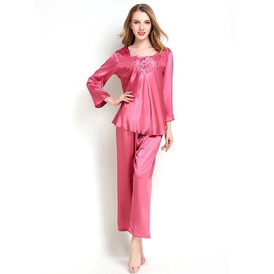 New Women Fashion Pajamas Set V-Neck Long Sleeve Sexy Lace Trim Pajamas Spring Autumn Nightwear Soft Faux Silk Satin Homewear