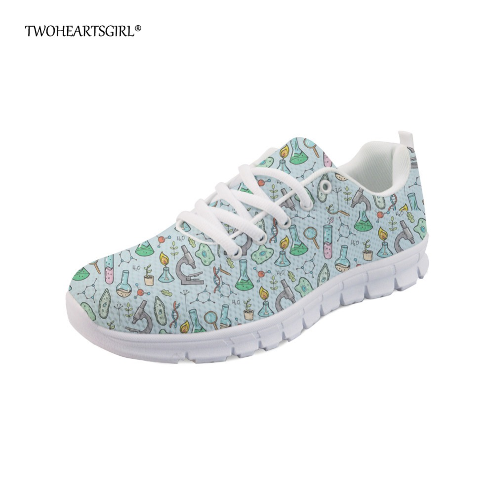 Twoheartsgirl Spring Summer Women Flats Fashionable Science Equipment Pattern Mesh Lace Up Shoes Breathable Ladies Sneakers