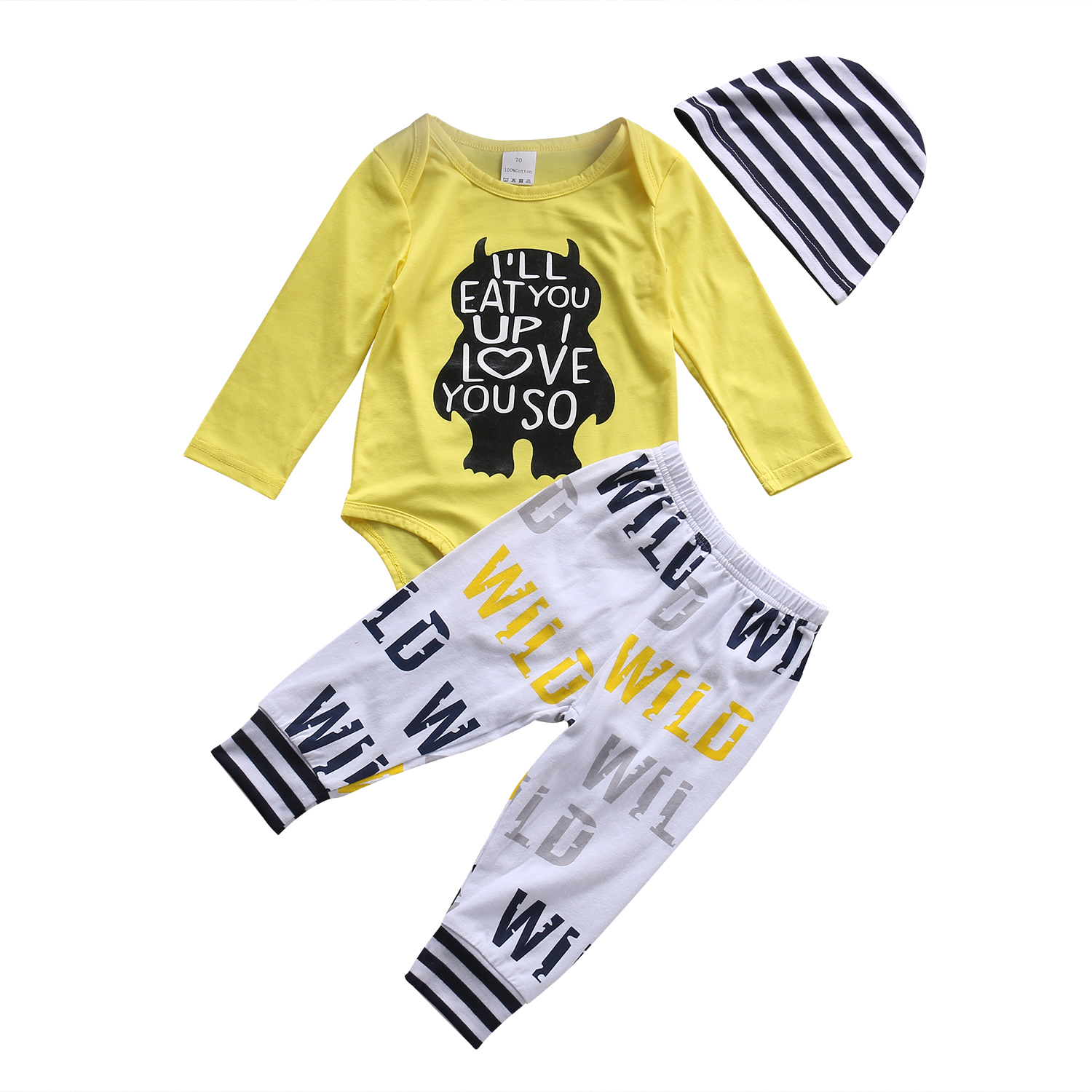 3PCS Newborn Baby Clothes Infant Baby Boys Yellow Letter Romper + Pants + striped hat Playsuit Outfit Set Baby Boy clothing 18M