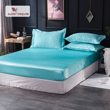 Slowdream 1 Piece Wholesale Luxury 100% Silk Blue Fitted Sheet Elastic Band Mattress Cover Queen King Bed Sheets For Women Men slowdream 1 piece wholesale luxury 100% silk fitted sheet elastic band mattress cover queen king bed sheets for women men